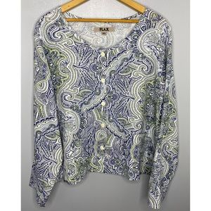FLAX Linen Printed Button Down Top